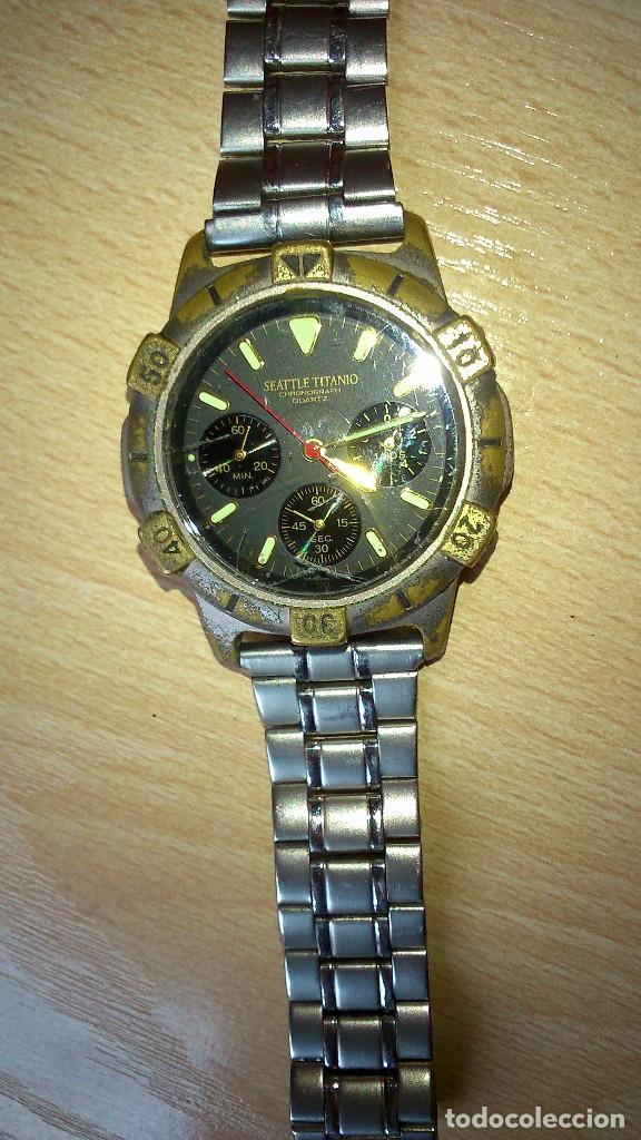 reloj de pulsera marca seattle titanio quartz chronograph relojes relojes actuales otros