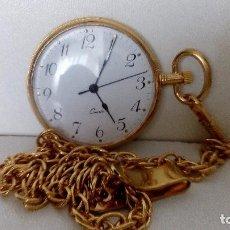 Relojes: RELOJ DE BOLSILLO QUARTZ DORADO CON CADENA DE 40,80 MM . Lote 78447821