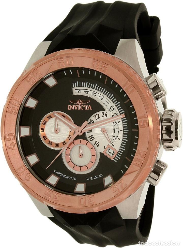 INVICTA FORCE CHRONO CORREA DE SILICONA NEGRO ACENTO DE TONO ROSA W/R 100 METROS BOX ESTANCO (Relojes - Relojes Actuales - Otros)