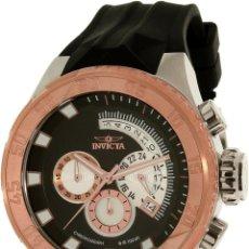 Relojes: INVICTA FORCE CHRONO CORREA DE SILICONA NEGRO ACENTO DE TONO ROSA BOX ESTANCO. Lote 81200444