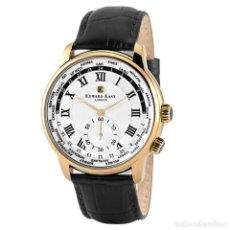 Relojes: EDWARD EAST PARA HOMBRE HORA MUNDIAL RELOJ CON CORREA DE CUERO NEGRO DE CARA DE ROTACIÓN RRP £430. Lote 82010384