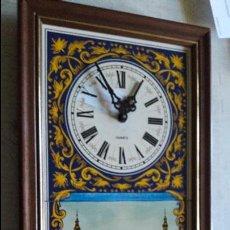 Relojes: RELOJ PUBLICITARIO CON MARCO DE MADERA 44X24 DE AZULEJOS MERCA CERAMICA SEVILLA. Lote 82173000