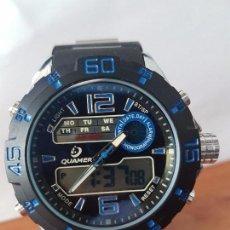 Relojes: RELOJ DE CABALLERO CUARZO QUAMER ANALÓGICO Y DIGITAL CON CALENDARIO, ALARMA, CRONO, CORREA ORIGINAL. Lote 83570748