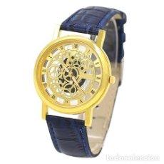 Relojes: PRECIOSO Y LUJOSO RELOJ DE ALEACION DE ORO DE ESFERA DE ESQUELETO PULSERA AZUL - Nº1. Lote 124428279