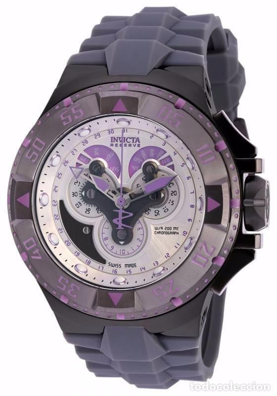 INVICTA EXCURSIÓN RELOJ SUIZO CON CRONÓGRAFO DIAL PÚRPURA DE SILICONA GRIS W R 200 METROS $1995 (Relojes - Relojes Actuales - Otros)