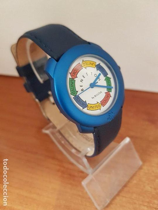 Relojes: Reloj de señora unisex (Vintage) Benetton by Bulova de acero caja color azul reloj nuevo de stock - Foto 2 - 115490136