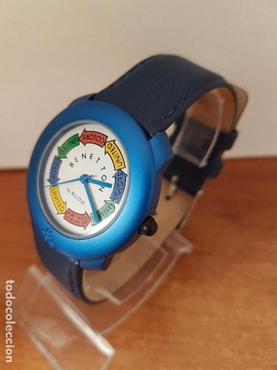 Relojes: Reloj de señora unisex (Vintage) Benetton by Bulova de acero caja color azul reloj nuevo de stock - Foto 3 - 115490136