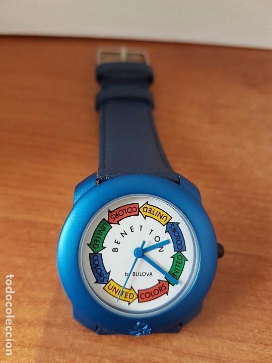 Relojes: Reloj de señora unisex (Vintage) Benetton by Bulova de acero caja color azul reloj nuevo de stock - Foto 4 - 115490136