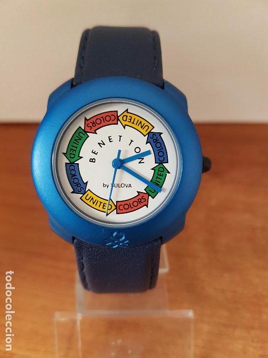 Relojes: Reloj de señora unisex (Vintage) Benetton by Bulova de acero caja color azul reloj nuevo de stock - Foto 5 - 115490136