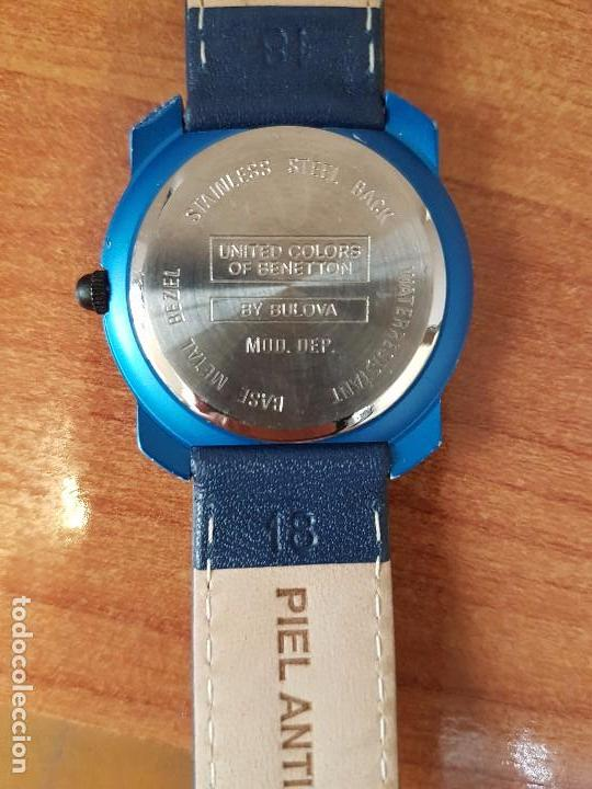 Relojes: Reloj de señora unisex (Vintage) Benetton by Bulova de acero caja color azul reloj nuevo de stock - Foto 6 - 115490136