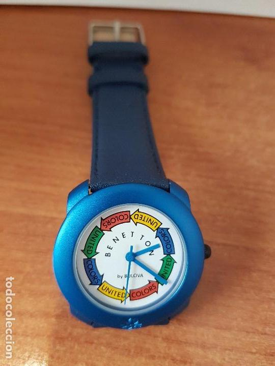 Relojes: Reloj de señora unisex (Vintage) Benetton by Bulova de acero caja color azul reloj nuevo de stock - Foto 7 - 115490136