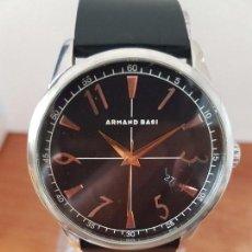 Relojes: RELOJ DE CABALLERO DE CUARZO ARMANDO BASI DE ACERO, CALENDARIO A LAS CUATRO HORAS, CORREA DE GOMA. Lote 85644548