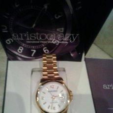 Relojes: RELOJ COLECCION MOUSTIQUE ESFERA BLANCA DORADO.ARISTOCRAZY.ORIGINAL,FUNCIONA. Lote 86723056