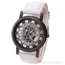 Relojes: PRECIOSO Y LUJOSO RELOJ DE ALEACION DE PLATA DE ESFERA DE ESQUELETO PULSERA BLANCA - GENOVA Nº10. Lote 86792340