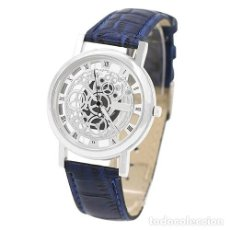 Relojes: PRECIOSO Y LUJOSO RELOJ DE ALEACION DE PLATA DE ESFERA DE ESQUELETO PULSERA AZUL - GENOVA Nº14. Lote 86792772