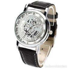 Relojes: PRECIOSO Y LUJOSO RELOJ DE ALEACION DE PLATA DE ESFERA DE ESQUELETO PULSERA NEGRA - POOMUDS Nº16. Lote 86792816