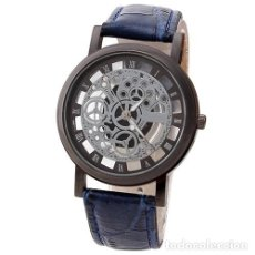 Relojes: PRECIOSO Y LUJOSO RELOJ DE ALEACION DE PLATA DE ESFERA DE ESQUELETO PULSERA AZUL - GENOVA Nº20. Lote 86793520