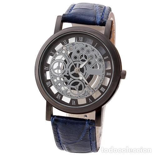 PRECIOSO Y LUJOSO RELOJ DE ALEACION DE PLATA DE ESFERA DE ESQUELETO PULSERA AZUL - Nº21 (Relojes - Relojes Actuales - Otros)