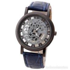 Relojes: PRECIOSO Y LUJOSO RELOJ DE ALEACION DE PLATA DE ESFERA DE ESQUELETO PULSERA AZUL - GENOVA Nº21. Lote 86793580