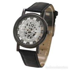 Relojes: PRECIOSO Y LUJOSO RELOJ DE ALEACION DE PLATA DE ESFERA DE ESQUELETO PULSERA NEGRA - Nº23. Lote 86795248