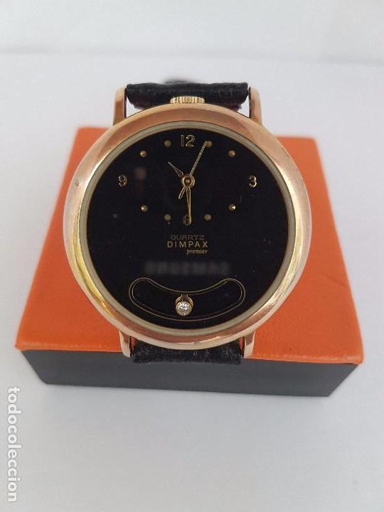 Relojes: Reloj de caballero de cuarzo marca DIMPAX. Premier chapado de oro, correa de cuero negra funcionando - Foto 2 - 92208280