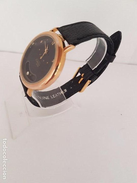 Relojes: Reloj de caballero de cuarzo marca DIMPAX. Premier chapado de oro, correa de cuero negra funcionando - Foto 3 - 92208280