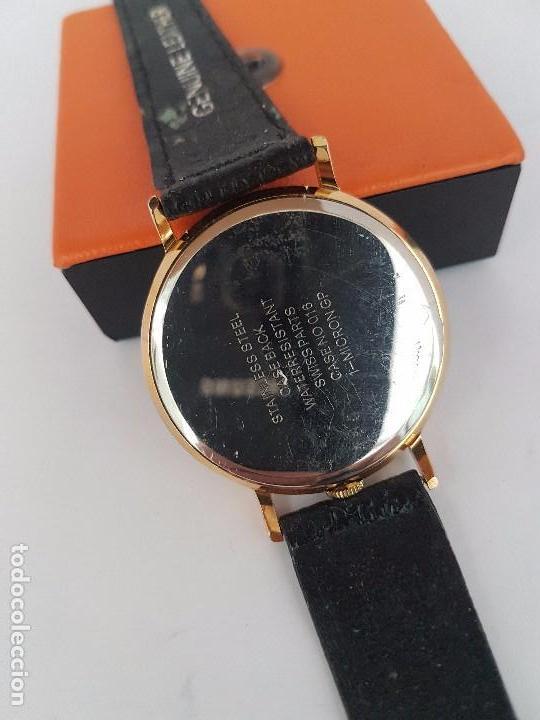 Relojes: Reloj de caballero de cuarzo marca DIMPAX. Premier chapado de oro, correa de cuero negra funcionando - Foto 4 - 92208280