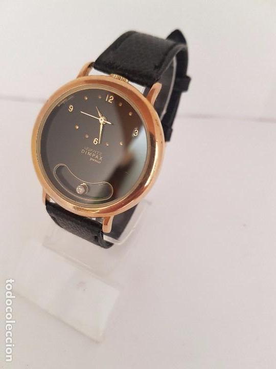 Relojes: Reloj de caballero de cuarzo marca DIMPAX. Premier chapado de oro, correa de cuero negra funcionando - Foto 5 - 92208280