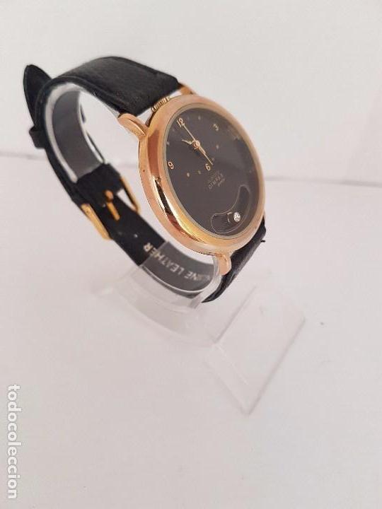 Relojes: Reloj de caballero de cuarzo marca DIMPAX. Premier chapado de oro, correa de cuero negra funcionando - Foto 7 - 92208280