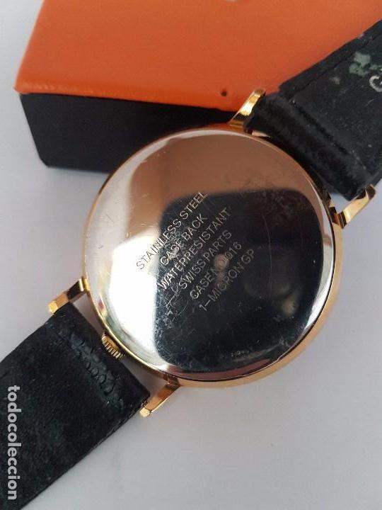 Relojes: Reloj de caballero de cuarzo marca DIMPAX. Premier chapado de oro, correa de cuero negra funcionando - Foto 8 - 92208280