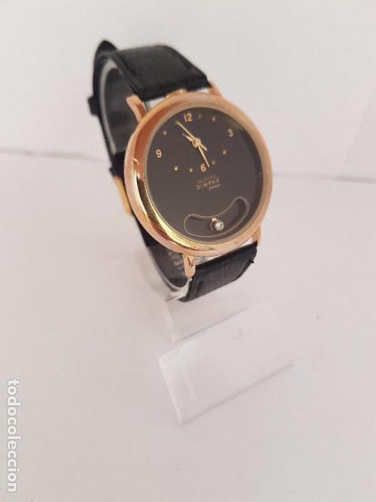 Relojes: Reloj de caballero de cuarzo marca DIMPAX. Premier chapado de oro, correa de cuero negra funcionando - Foto 12 - 92208280