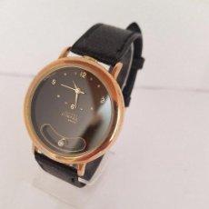Relojes - Reloj de caballero de cuarzo marca DIMPAX. Premier chapado de oro, correa de cuero negra funcionando - 92208280