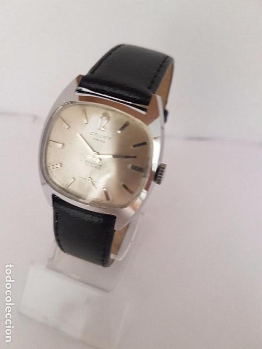 Relojes: Reloj de caballero (Vintage) marca en la esfera CAUNY Swiss APOLLON 17 rubís acero con correa negra - Foto 2 - 92212375
