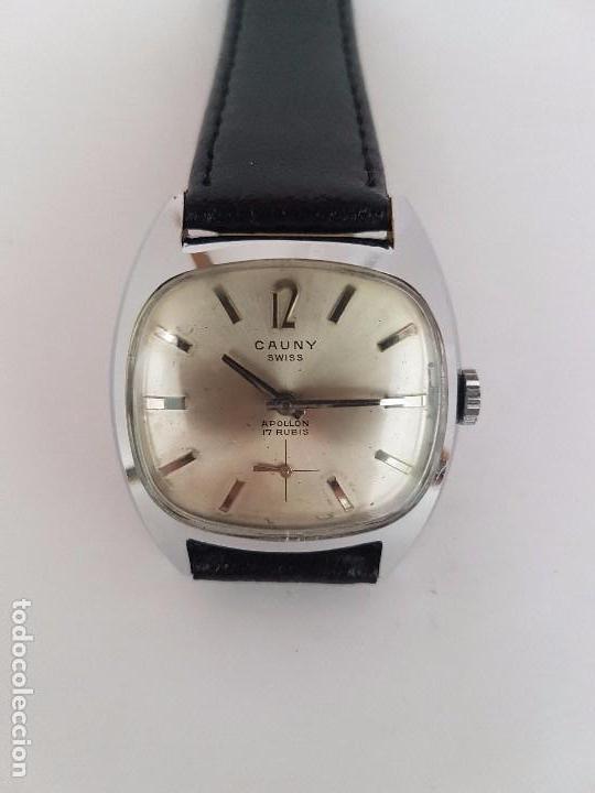 Relojes: Reloj de caballero (Vintage) marca en la esfera CAUNY Swiss APOLLON 17 rubís acero con correa negra - Foto 4 - 92212375