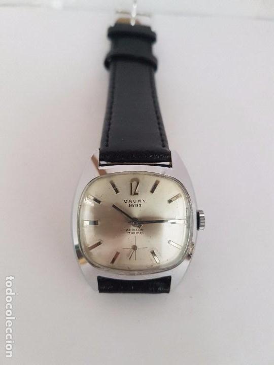 Relojes: Reloj de caballero (Vintage) marca en la esfera CAUNY Swiss APOLLON 17 rubís acero con correa negra - Foto 5 - 92212375