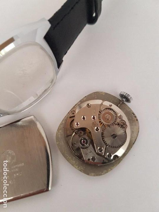 Relojes: Reloj de caballero (Vintage) marca en la esfera CAUNY Swiss APOLLON 17 rubís acero con correa negra - Foto 6 - 92212375