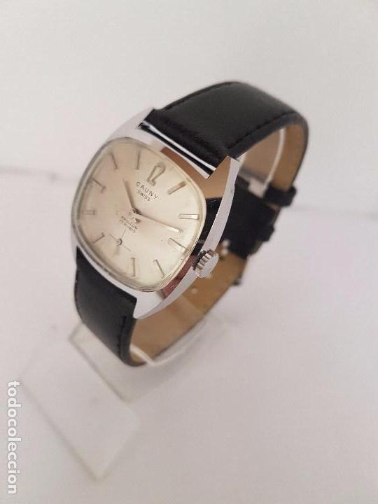 Relojes: Reloj de caballero (Vintage) marca en la esfera CAUNY Swiss APOLLON 17 rubís acero con correa negra - Foto 7 - 92212375