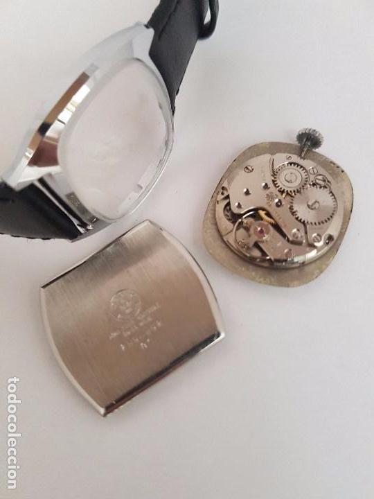 Relojes: Reloj de caballero (Vintage) marca en la esfera CAUNY Swiss APOLLON 17 rubís acero con correa negra - Foto 8 - 92212375