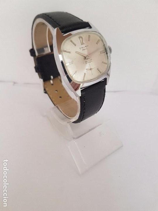 Relojes: Reloj de caballero (Vintage) marca en la esfera CAUNY Swiss APOLLON 17 rubís acero con correa negra - Foto 9 - 92212375