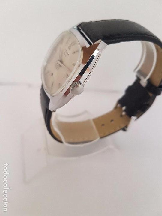 Relojes: Reloj de caballero (Vintage) marca en la esfera CAUNY Swiss APOLLON 17 rubís acero con correa negra - Foto 10 - 92212375