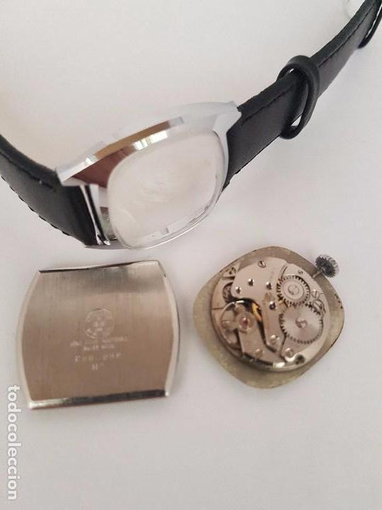 Relojes: Reloj de caballero (Vintage) marca en la esfera CAUNY Swiss APOLLON 17 rubís acero con correa negra - Foto 11 - 92212375
