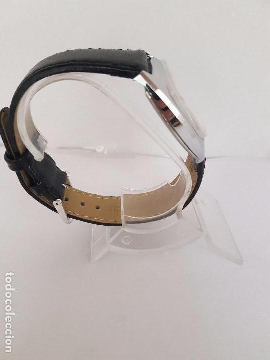 Relojes: Reloj de caballero (Vintage) marca en la esfera CAUNY Swiss APOLLON 17 rubís acero con correa negra - Foto 12 - 92212375