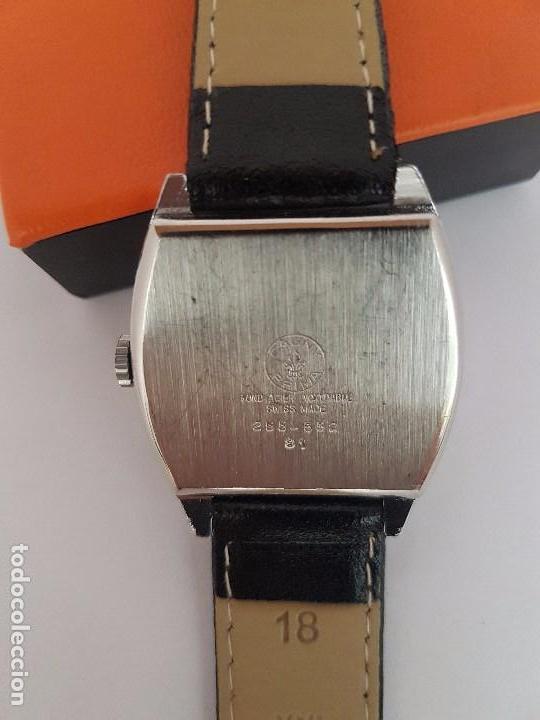 Relojes: Reloj de caballero (Vintage) marca en la esfera CAUNY Swiss APOLLON 17 rubís acero con correa negra - Foto 13 - 92212375