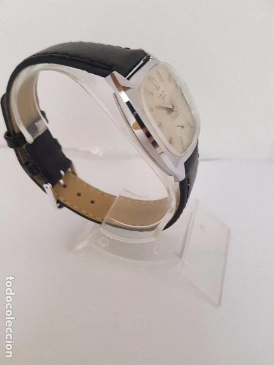 Relojes: Reloj de caballero (Vintage) marca en la esfera CAUNY Swiss APOLLON 17 rubís acero con correa negra - Foto 14 - 92212375