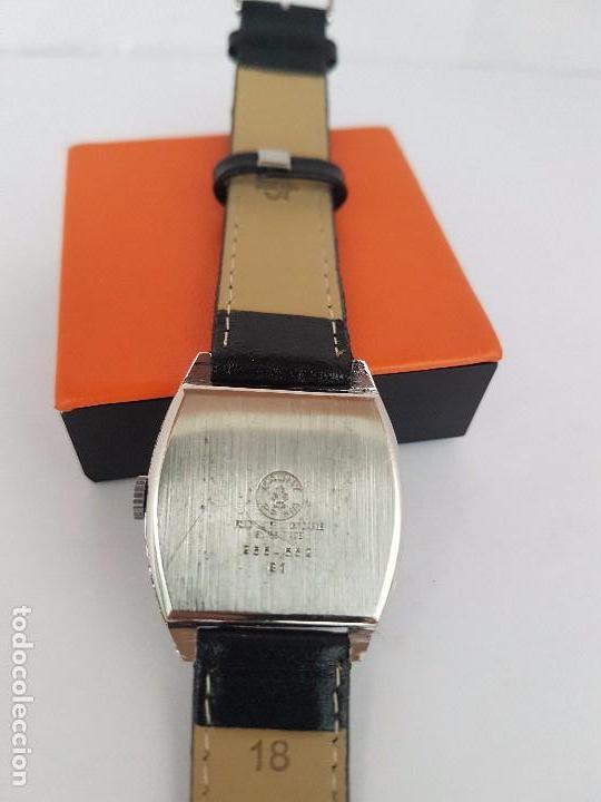 Relojes: Reloj de caballero (Vintage) marca en la esfera CAUNY Swiss APOLLON 17 rubís acero con correa negra - Foto 16 - 92212375