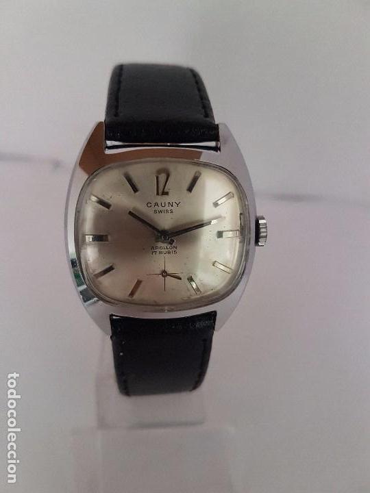 RELOJ DE CABALLERO (VINTAGE) MARCA EN LA ESFERA CAUNY SWISS APOLLON 17 RUBÍS ACERO CON CORREA NEGRA (Relojes - Relojes Actuales - Otros)