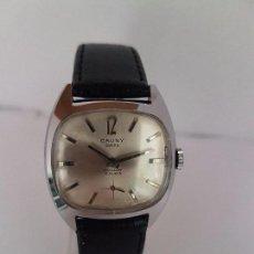 Relojes: RELOJ DE CABALLERO (VINTAGE) MARCA EN LA ESFERA CAUNY SWISS APOLLON 17 RUBÍS ACERO CON CORREA NEGRA. Lote 92212375