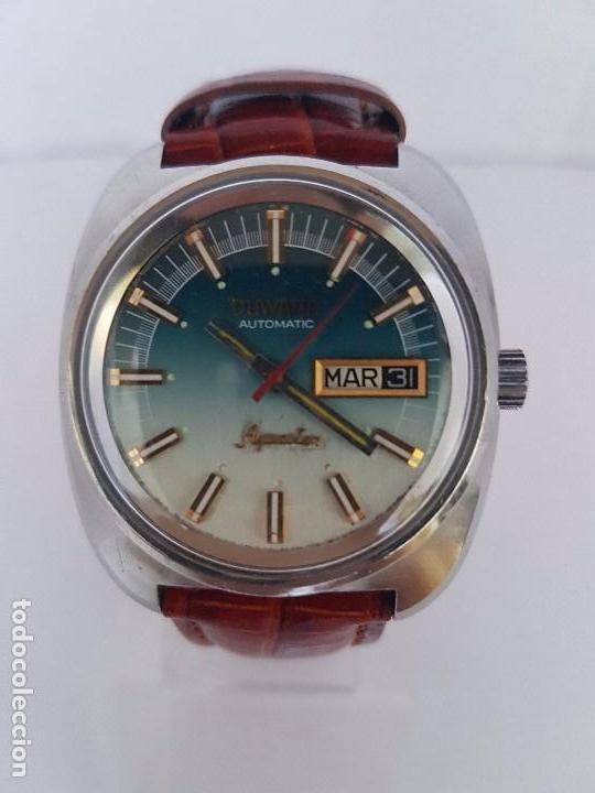 60ca46dae700 Reloj de caballero (Vintage) marca DUWARD Aguastar automático 25 rubís con  correa de cuero marrón