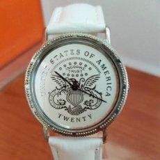 Relojes: RELOJ CABALLERO ACERO DE CUARZO EXTRAPLANO ESFERA BLANCA INGODWE TRUST, CORREA DE CUERO BLANCA . Lote 94303850