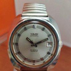 Relojes: RELOJ CABALLERO (VINTAGE) AUTOMÁTICO SAVOY CON CALENDARIO A LAS TRES, CRISTAL NUEVO, CORREA ESTIRAR . Lote 94342750